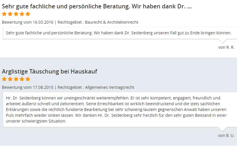 Bewertungen Rechtsanwalt Dr. Seidenberg